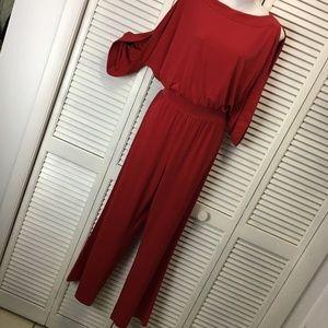 Chico's red jumpsuit cold shoulder size 1 medium